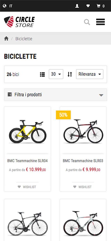 One Store - Elenco Prodotti su mobile